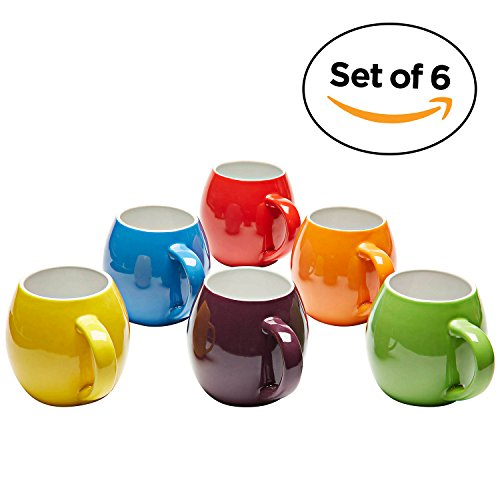 Premium Ceramic Set of 6, Colorful Meal Stoneware (Coffee (Yellow Mug Set)