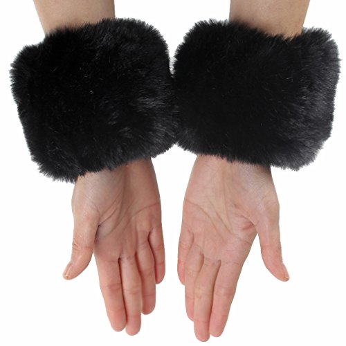 ECOSCO One Pair Faux Rabbit Fur Hair Soft Wrist Band Ring Cuff COZY FUZZY Warm Warmer Autumn Winter Cold Weather (Black)