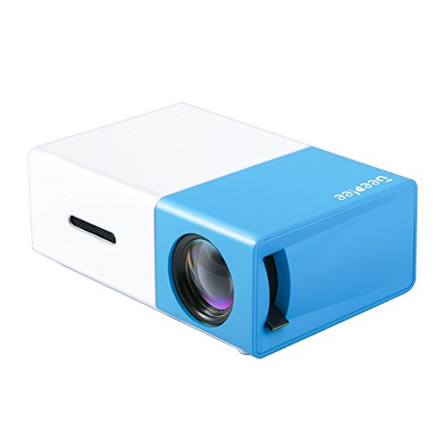 DeepLee DP300 Mini Projector, Portable LED Projector Home Cinema Theater with PC Laptop USB/SD/AV/HDMI Pocket Projector for Video Movie Game Home Entertainment Projector - Blue -