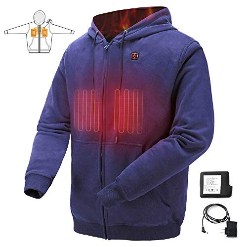 - COLCHAM Heated Sweatshirt Men Women Warm Fleece with Rechargeable Battery for Autumn Winter Navy