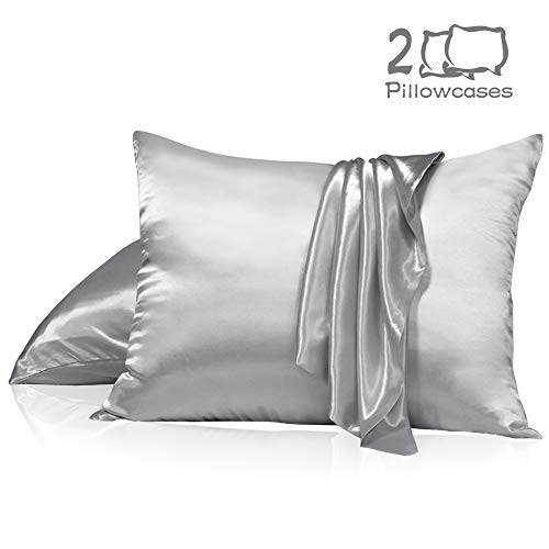 Muama Satin Silk Pillowcase 2 Pack for Hair and Skin with Hidden Zipper Luxury Silky Pillow Case Super Soft and Breathable Pillowcase Covers King Size (Silver Grey, ()