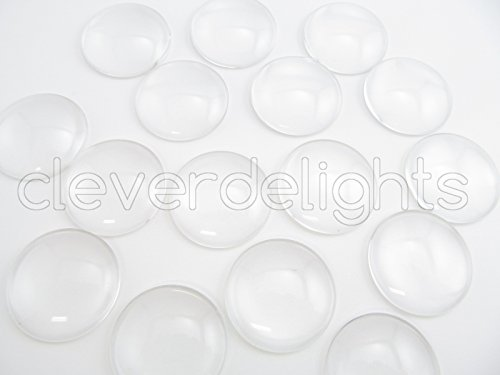"""50 CleverDelights Round Glass Dome Cabochons - 30mm - Clear Magnifying Cabs - Dome Pendant Cab - For Cameo Pendants, Photo Jewelry, Rings, Necklaces - 1 3/16"""" Diameter"""