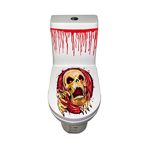 Halloween Toilet Stickers Bloody Splattered Horror Zombie Bathroom Temporary Transfer Party Decoration,60cm31cm,Blood Skull