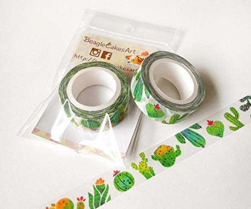 photo about Planner Supplies known as : Cactus Washi Tape. Planner Decoration. Character