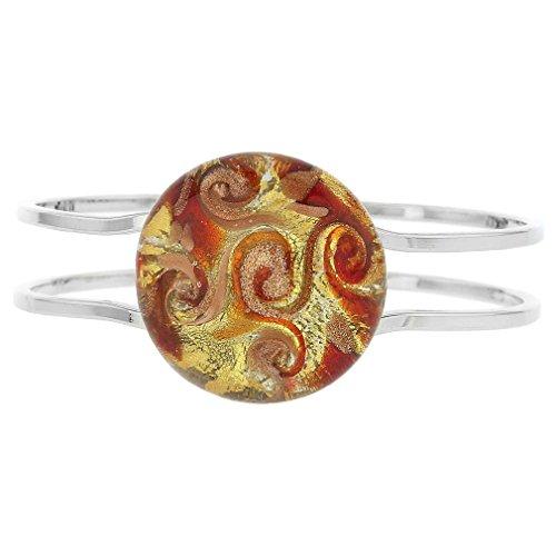 GlassOfVenice Murano Glass Venetian Reflections Metal Bracelet - Red Orange Swirl