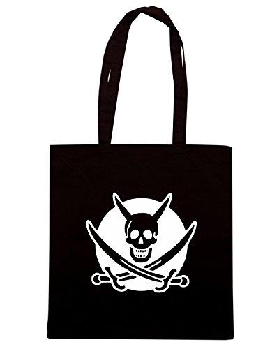 T-Shirtshock - Bolsa para la compra FUN1194 devil pirate bw womens dark tshirt Negro