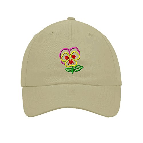 Speedy Pros Cotton 6 Panel Low Profile Hat Plants Pansy Flower Embroidery By Stone (Flower Embroidery Stones)
