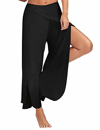 SEASUM Women's Layered Wide Flare Leg Cropped Palazzo Lounge Pants High Waist Loose Fit Comfy Soft XL