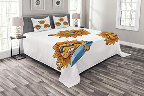 (Ambesonne Cartoon Bedspread Set Queen Size, Surf Sun Characters Wearing Shades and Surfboards Fun Hippie Summer Kids Design, Decorative Quilted 3 Piece Coverlet Set with 2 Pillow Shams, Orange White)