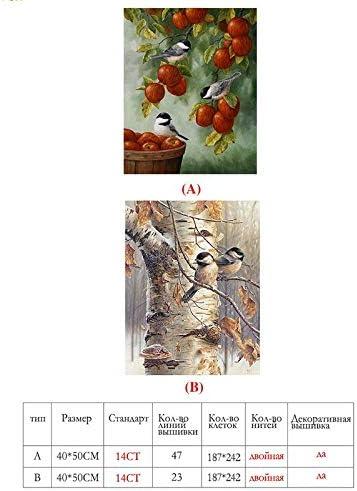 Color : VS 0024, Size : 40 * 50cm 14CT Completa Aves 40x50cm Paisaje De Punto De Cruz Blanca DIY DMC Lienzo Contado Conjunto Kit De Punto De Cruz Bordado