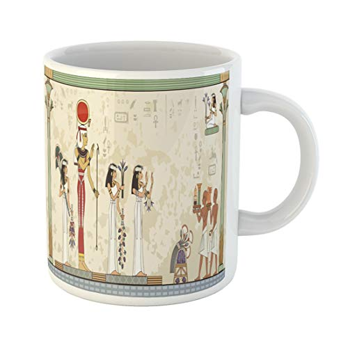 Semtomn Funny Coffee Mug Pesach Murals Ancient Egypt Scene Egyptian Hieroglyph and Symbol 11 Oz Ceramic Coffee Mugs Tea Cup Best Gift Or -