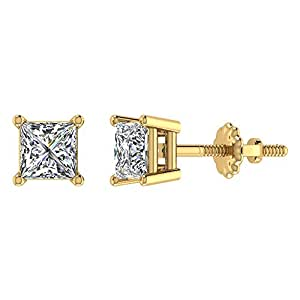 1.00 ct tw J I1 Natural Princess Cut Diamond Stud Earrings 14K Yellow Gold Screw Back