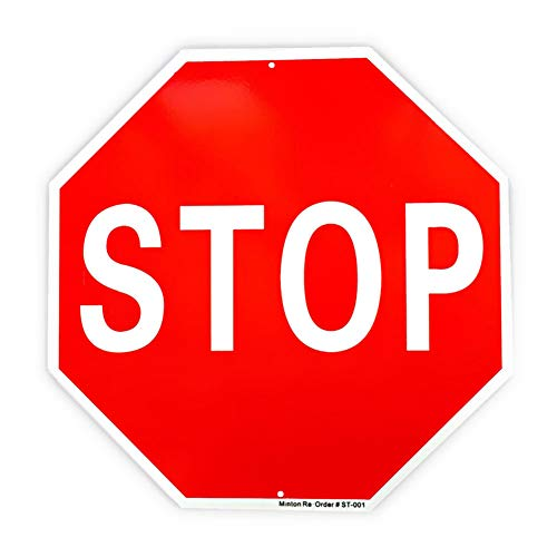 """Stop Sign Traffic Slow Reflective Signs, 40 Mil Rust Free Aluminum Warning Sign 12""""x 12"""" Octagon, UV Protected, and Weather Resistant"""