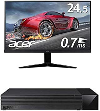 BUFFALO 外付けハードディスク 2TB TV録画用HDD採用 みまもり合図forAV対応 24時間連続録画 日本製 HDV-LLD2U3BA/N + Acer ゲーミングモニター KG251QGbmiix 24.5インチ 0.7ms 75hz TN FPS向き フルHD 非光沢 フレームレス