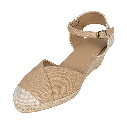 (Syktkmx Womens Espadrille Wedge Platform Ankle Strap Closed Toe Mid Heel D'Orsay Sandals)
