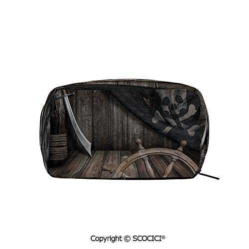 Printed Portable rectangle Makeup Cosmetic Bag Steering Wheel with Old Jolly Roger Flag and Saber in Pirates Ship Control Room Art Print Durable storage bag for Women Girls -