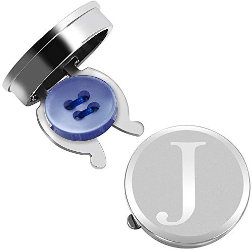 HAWSON Button Covers for Men - Silver Mens Button Cover Cufflinks for Wedding and Formal Event Accessories - Personalized Alphabet Initials A-Z