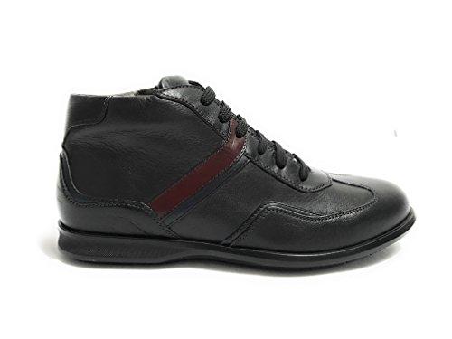 GALIZIO TORRESI Scarpe Uomo Sneaker Alto Mid con Zip Pelle Foulard Nero U18GT05