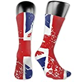 british morning socks - WOWINNER Unisex Adults Teens Casual British Flag Crack Crew Socks Novelty Dress Cotton Thick Warm Socks for Work Travel Running Hiking Outdoor