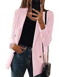 BYWX Women Casual Lapel One Button Plus Size Slim Fit Thick Blazer Jacket