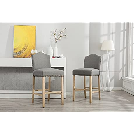 Roundhill Furniture PC572GY Mod Urban Style Solid Wood Nailhead Fabric Padded Bar Height Stool Set Of 2 Gray