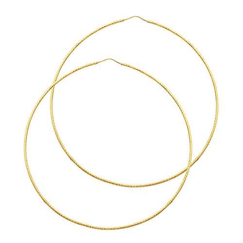 14K Yellow Gold 1mm Bb Diamond-Cut Endless Hoop Earrings (80mm)