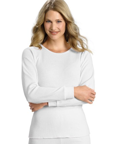 Waffle Knit Thermal (Hanes Women's Plus-Size X-Temp Thermal Crew Shirt, Snow White, Medium)