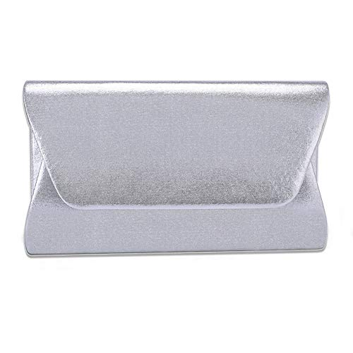 Women Envelope Evening Bag Clutches HandBag , WALLYN'S Flap Dazzling Shouder Bags Wedding Purse with Detachable Chain (silver) ()