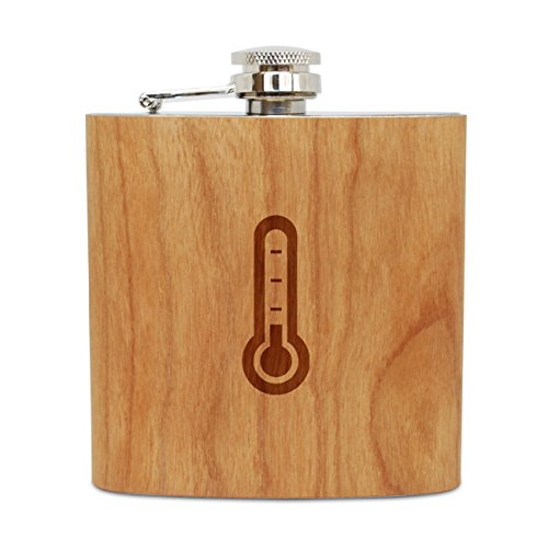 Thermometer Cherry - OKSLO Thermometer 6 oz wooden flask (cherry), stainless steel body, handmade in usa