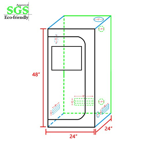 """41En0A%2B0vdL - Quictent SGS Approved Eco-friendly 24""""x24""""x48"""" Reflective Mylar Hydroponic Grow Tent with Obeservation Window and waterproof Floor Tray for Indoor Plant Growing 2'x2'"""