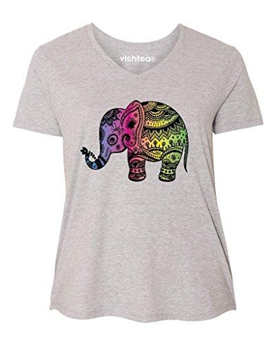 Ladies Elephant - Indian Art Yoga Women's Plus-Size Cute Elephant Lotus Curvy LoveHeather550
