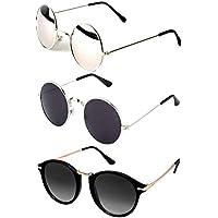 Y&S Aviator Unisex Sunglasses (Black) -Combo of 3