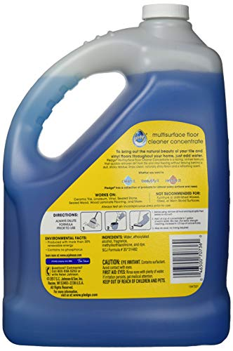 Pledge Multi-Surface Floor Cleaner Concentrated Liquid, Shines Hardwood, Rainshower, 1 Gallon