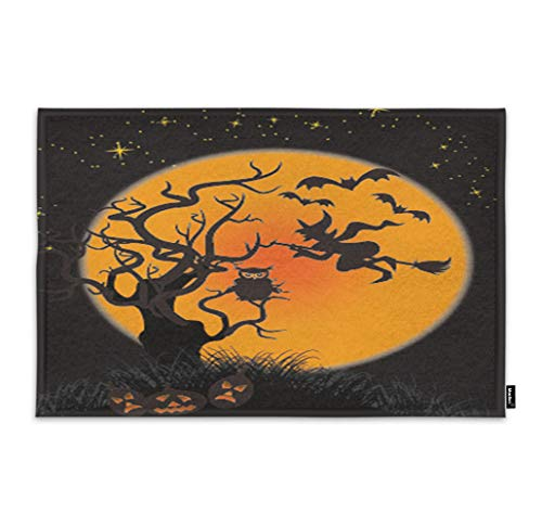 Moslion Halloween Door Mat Dark Witch with Broom Bats Fly to Moon Owl in Tree Pumpkin in Horror Night Doormat Indoor Front Fun Door Mat Inside Large Bathroom Non Slip Mat 18x30 Inch Orange Black ()