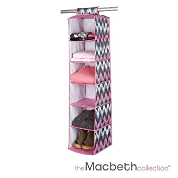 Collapsible 6 Shelf Hanging Closet Organizer   Many Styles Available (Joni  Greys)