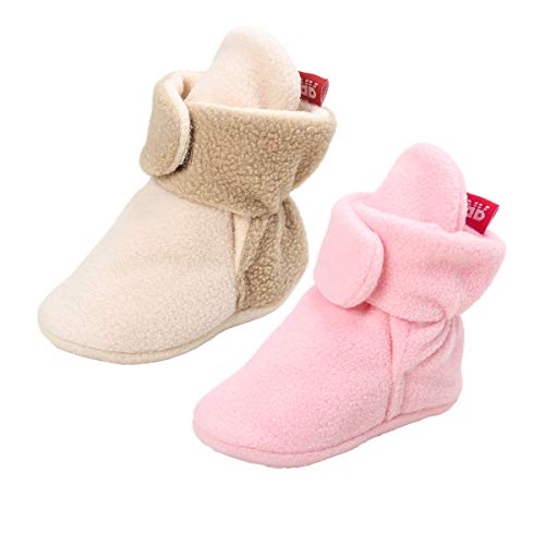 Tutoo Unisex-Baby Newborn Fleece Bootie Infant Boys Girls Winter Warm Cotton Slippers Soft First Walkers Shoes (5.1 inches(12-18 Months), 2 Pairs(Pink+Beige)) by Tutoo