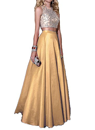Debut Gold Crystal - Momoai 2 Piece Beaded Bodice Ball Gown Crystal Prom Party Dresses Long M006