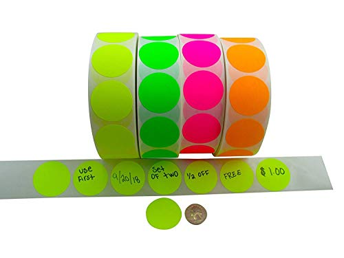(Circle Stickers Color Coding Labels Super Bright Fluorescent Neon Yellow, Green, Orange and Pink Round Circle Dots for Organizing Inventory 1.5 Inch 2,000 Total Adhesive Stickers (500 of Each Color))