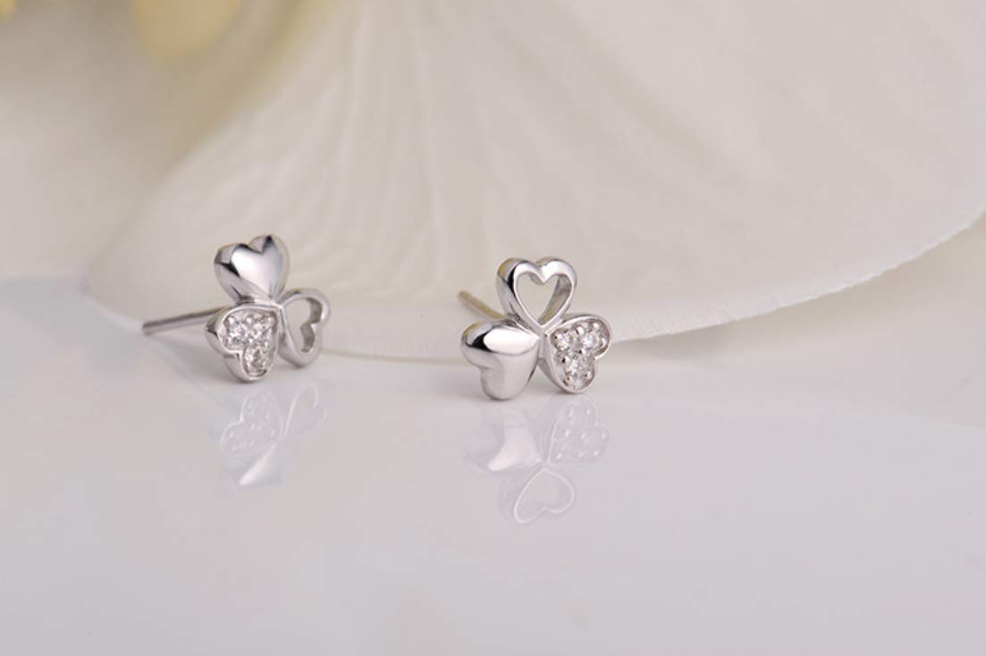Fashion Girl Woman Jewelry Not Allergic Three Leaves Love Heart 925 Sterling Silver Stud Earrings