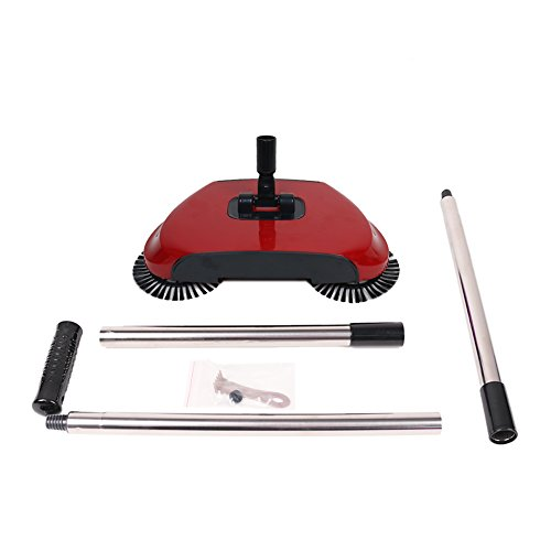 360 Degree Rotating Household Automatic Hand Push Sweeper Broom, Multi-Functional Profession Vacuum Cleaner Sweeping Robot without Electricity, 3 in 1 Dustpan and Trash Bin Floor Cleaning System (red) by YOUBEST (Image #3)