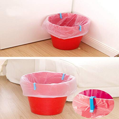 Bag Clips - Brand 2 Pcs Universal Trash Bag Fixed Clip Waste Basket Rubbish Bin Garbage Can Clamp - Kitchen Cute Slide Rose Decorative Chef White Wide Round Animal ()