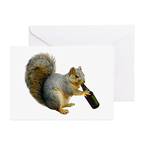 CafePress Squirrel Beer Greeting Card, Note Card, Birthday Card, Blank Inside Glossy