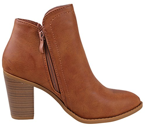 Women's Tan Top Booties Ankle Moda d 5Ixfq8wF