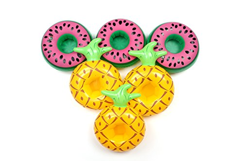 Mingge Inflatable Pool Drink Holder - Palm tree and Flamingo Cup Holder Float (Set of 6) (PINEAPPLE)
