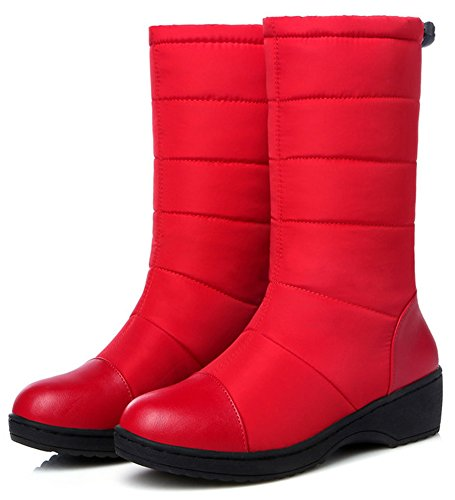 Summerwhisper Womens Anti Skid Splicing Round Toe Wedge Low Heel Platform Slip on Mid Calf Snow Boots Shoes Red n1OQzl