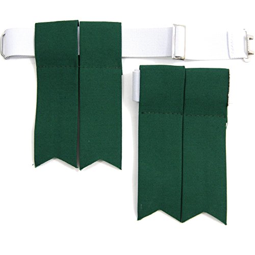 USA Kilts Standard Green Kilt Flashes with Adjustable Elastic Garter