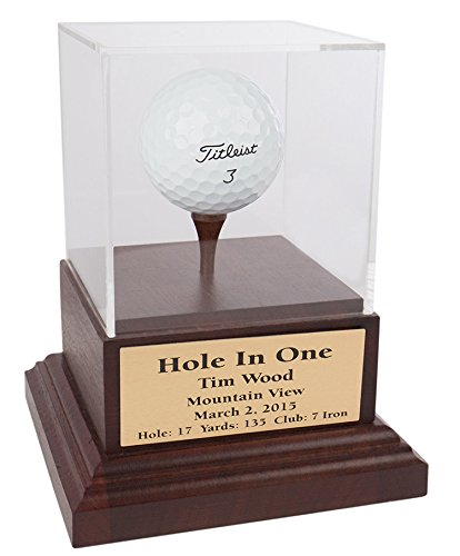 Eureka Golf Products Acrylic Hole In One Display with Wood Base (Cherry-Brass Plate)