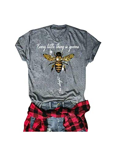 GEMLON Every Little Thing is Gonna Be Alright T-Shirt Women Cute Bee Graphic Top Blouse Summer Casual Baseball Tee Gray