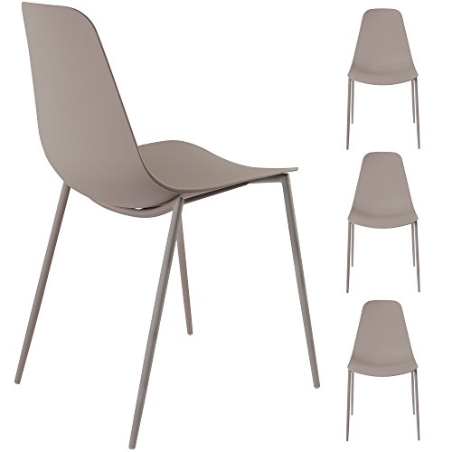 Alessia Set of 4 Stone Dining Chairs - Mid Century Modern Style Armless Side Chairs Molded Easy Clean Plastic Shell with Steel Legs by Linea di Liara LL-CH1661-STONE
