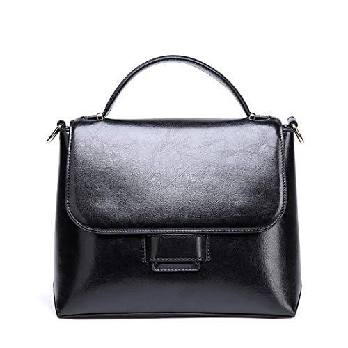 buy popular 9c6ca 4b16b Cuero Bandolera Bolso Piel Magai De Superior Genuino Black color Asa Gray  Con Genuina YxgFd8qwd5